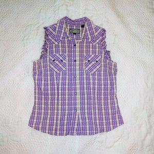 Wester Sleeveless Top Shirt Pearl Snaps Sz L